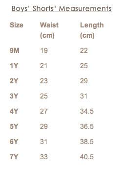 Measurements boys shorts