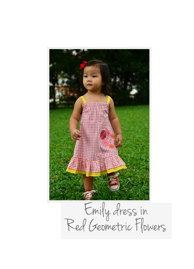 Emily dress Red Geo Flowers