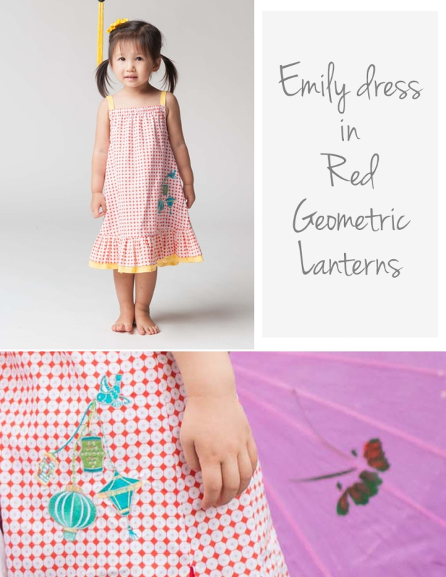 Emily dress Red Geo Lanterns