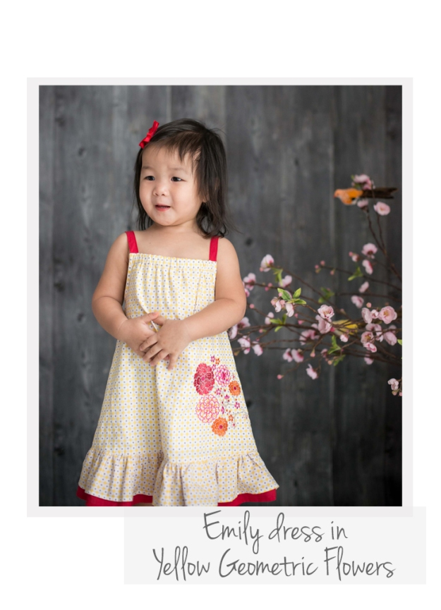 Emily dress Yellow Geo Flowers