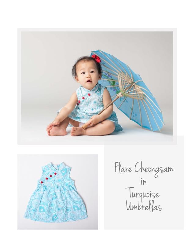 Flare Cheongsam Turq Umbrellas