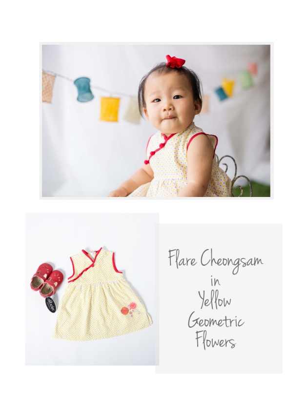 Flare Cheongsam Yellow Geo Flowers