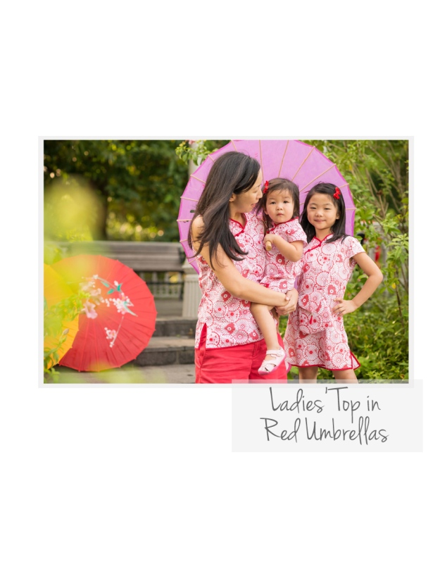 Ladies Top in Red Umbrellas